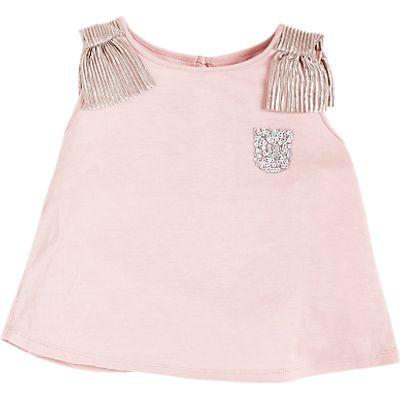 Angel & Rocket Girls' Crinkle Bow Shoulder Top, Dusky Pink