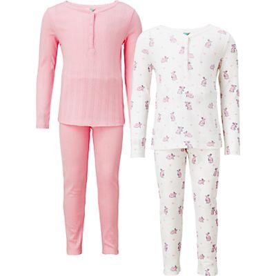 John Lewis Children's Bunny Rabbit Print Pyjamas, Pack of 2, Pink/White