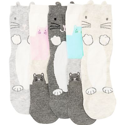 John Lewis Children's Pastel Cat Socks, Pack of 5, Multi