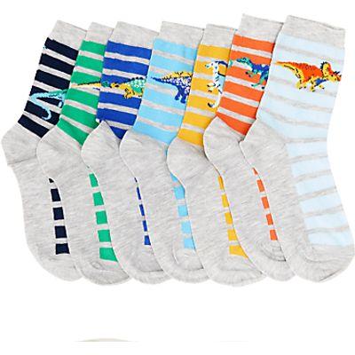 John Lewis Children's Days Of The Week Dinosaur Socks, Pack of 7, Multi
