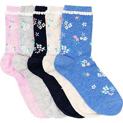 John Lewis Children's Vintage Floral Socks, Pack of 5, Multi