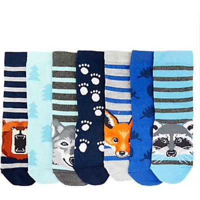 John Lewis Children's Woodland Animal Socks, Pack of 7, Blue