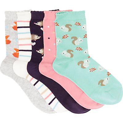 John Lewis Children's Woodland Socks, Pack of 5, Multi