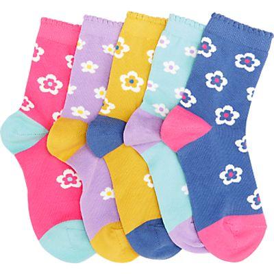 John Lewis Children's Bold Floral Socks, Pack of 5, Multi