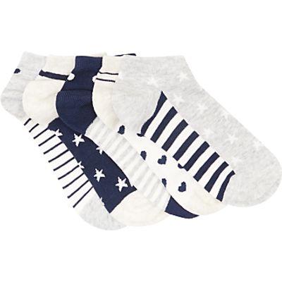 John Lewis Children's Pattern Trainer Socks, Pack of 5, Multi