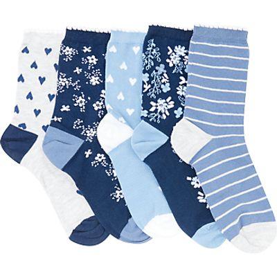 John Lewis Children's Floral Print Socks, Pack of 5, Multi