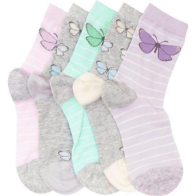 John Lewis Children's Pastel Butterfly Socks, Pack of 5, Multi
