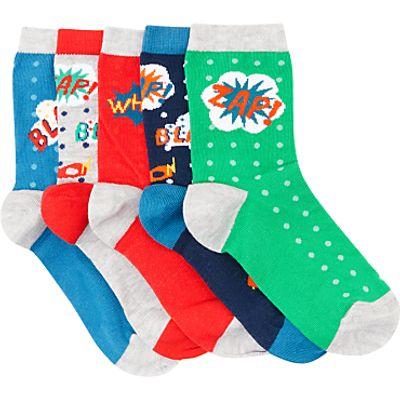 John Lewis Children's Comic Strip Socks, Pack of 5, Multi
