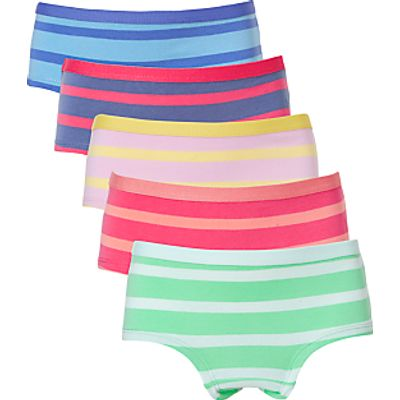 John Lewis Girls' Multi Stripe Shorties, Pack of 5, Multi