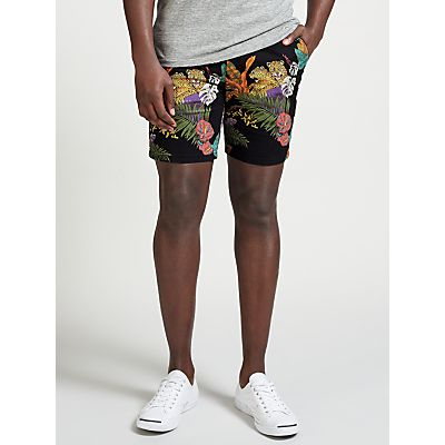 Scotch & Soda Tropical Print Chino Peached Cotton Shorts, Black
