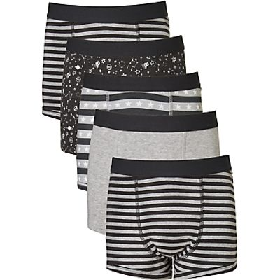 John Lewis Boys' Space Print Trunks, Pack of 5, Black/White