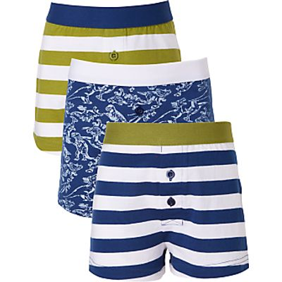 John Lewis Boys' Dinosaur and Rugby Stripe Print Boxers, Pack of 3, Blue/Green