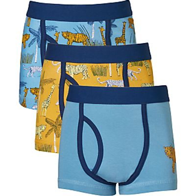 John Lewis Boys' Safari Print Trunks, Pack of 3, Blue/Yellow