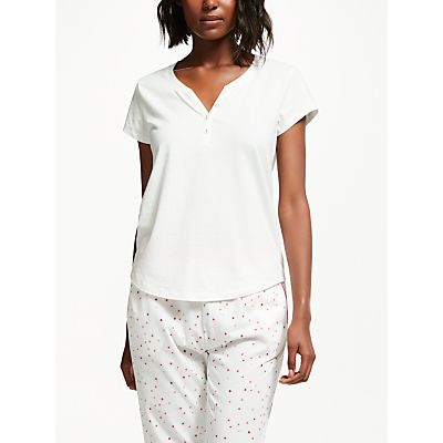 John Lewis Jersey Short Sleeve Placket Detail Pyjama Top