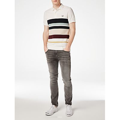 Fred Perry Multi Stripe Piqué Polo Shirt, Snow White