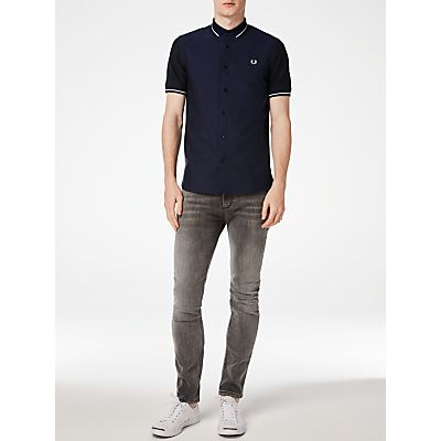 Fred Perry Knitted Collar Oxford Shirt, Navy