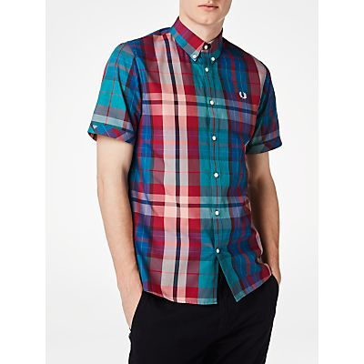 Fred Perry Short Sleeve Bright Madras Plaid Shirt, Chalk
