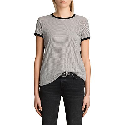 AllSaints Maicy Stripe T-Shirt, Chalk/Smoke Navy