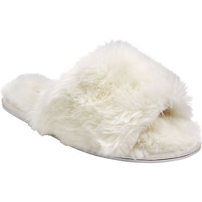 John Lewis Faux Fur Slider Slippers, Cream