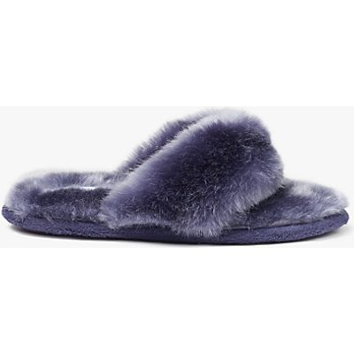 John Lewis Faux Fur Toe Post Slippers, Purple