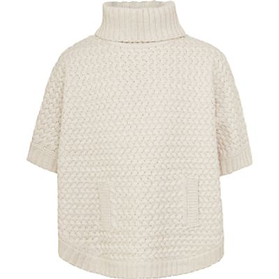John Lewis Girls' Zig Zag Knit Poncho, Oatmeal