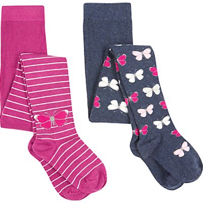 John Lewis Girls' Butterfly Tights, Pack of 2, Navy/Pink