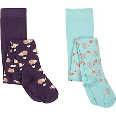 John Lewis Girls' Woodland Tights, Pack of 2, Multi