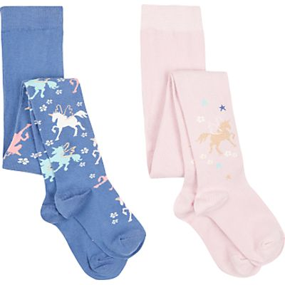 John Lewis Girls' Unicorn Tights, Pack of 2, Blue/Pink