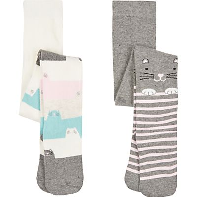 John Lewis Girls' Cat Tights, Pack of 2, Grey