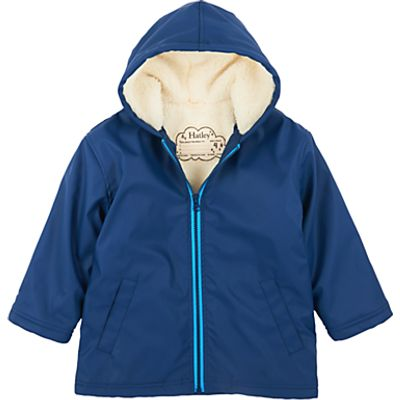 Hatley Boys' Sherpa Lined Raincoat, Navy