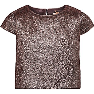 John Lewis Heirloom Collection Girls' Jacquard Top, Gold