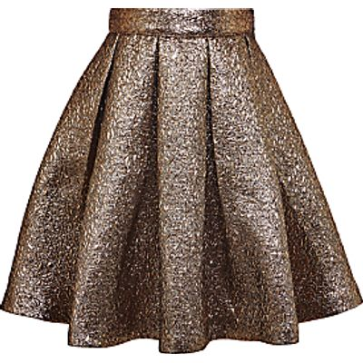 John Lewis Heirloom Collection Girls' Jacquard Skirt, Gold