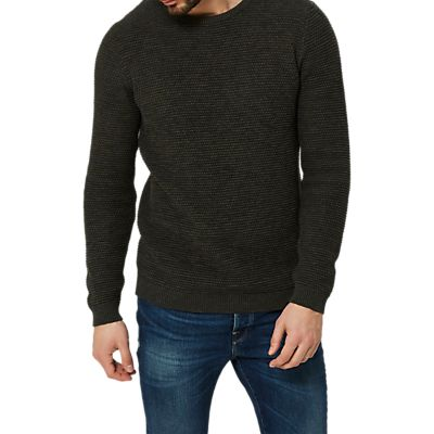 Selected Homme Vince Bubble Knit Jumper, Forest Night