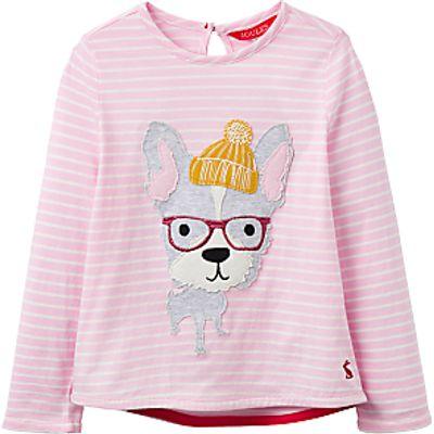 LIttle Joule Girls' Dog Applique Top, Pink