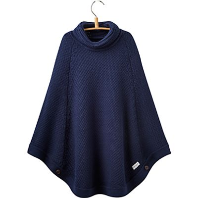 Little Joule Girls' Knit Poncho, French Navy