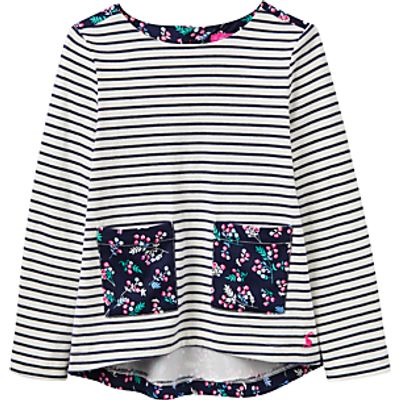 Little Joule Girls' Print Mix Top, French Navy