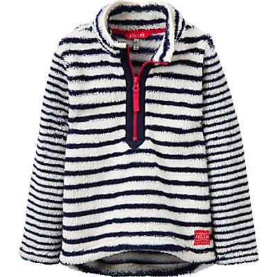 Little Joule Girls' Dale Stripe Half Zip Fleece, French Navy/White