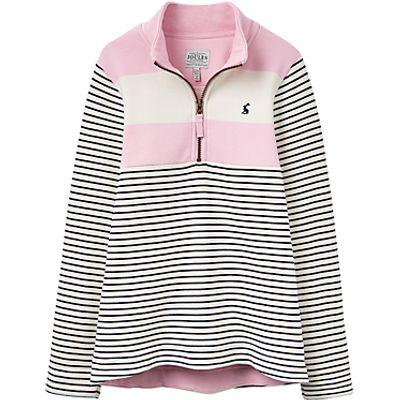 Little Joule Girls' Stripe Print Sweatshirt, Rose Pink