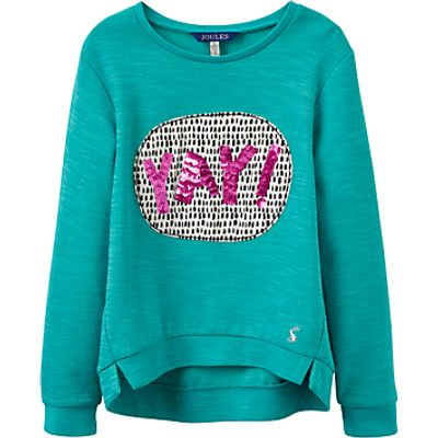 Little Joule Girls' Screen Printed Sweatshirt, Cool Green