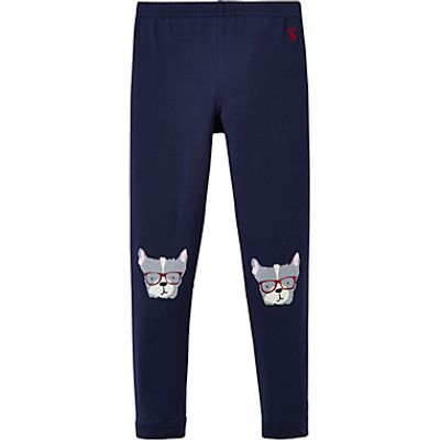Little Joule Girls' Puppy Character Leggings, French Navy
