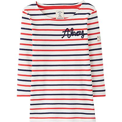Little Joule Girls' Harbour Striped Long Sleeve Top, Pink