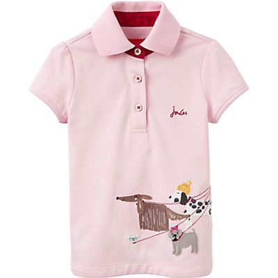 Little Joule Girls' Dog Applique Polo Shirt, Rose Pink