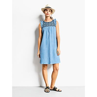 5056069568710 | hush Angelica Embroidered Dress  Light Chambray Store