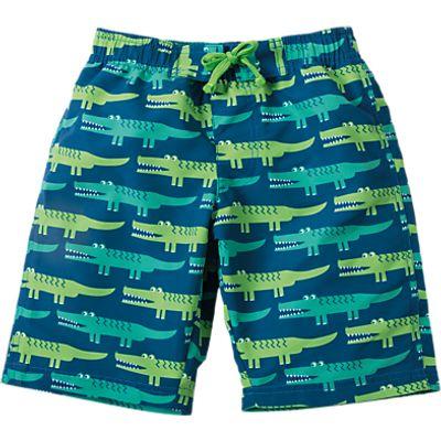 Frugi Organic Boys' Crocodile Rock Board Shorts, Green, 3-4 years