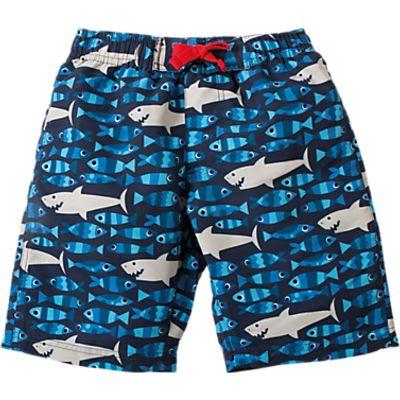 Frugi Organic Boys' Sneaky Shark Board Shorts, Blue
