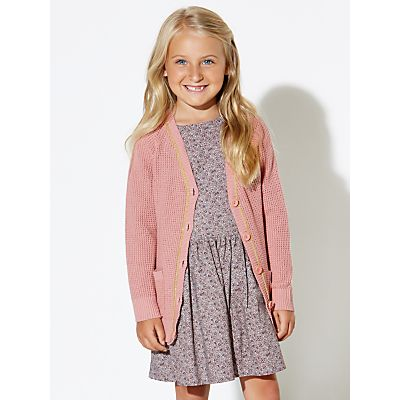 Wheat Girls' Malena Cotton Cardigan, Misty Rose