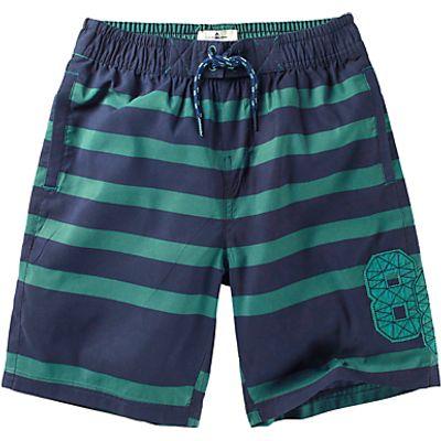 Fat Face Boys' Striped Board Shorts, Green/Blue