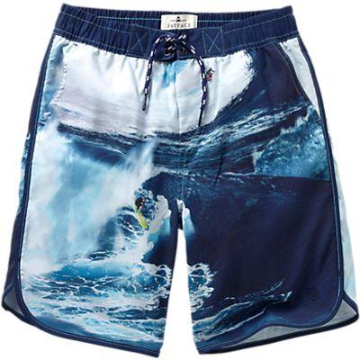 Fat Face Boys' Surf Board Photo Print Board Shorts, Blue