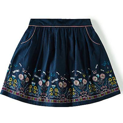 Yumi Girl Linear Wildlife Floral Skirt, Navy