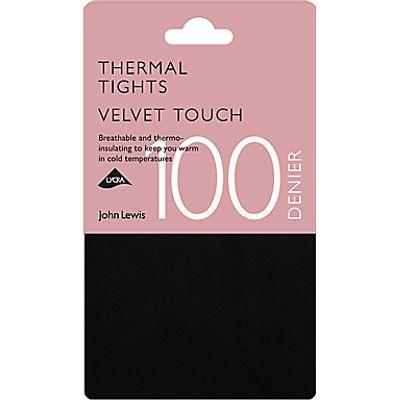 John Lewis 100 Denier Opaque Thermal Tights, Black